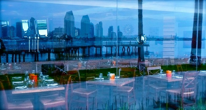 Morning reflection from Candela's restaurant (Coronado) of downtown San Diego and the bay.