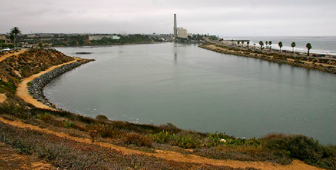 The view south across Agua Hedionda Lagoon; Encina Power Station in background (photo from Wikipedia)
