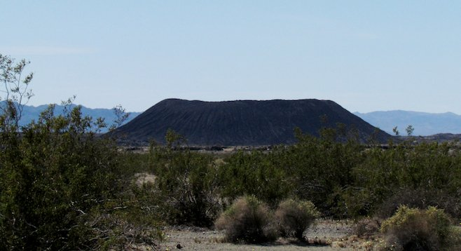 An hour east of Barstow, the Amboy cone is impressive from a distance.