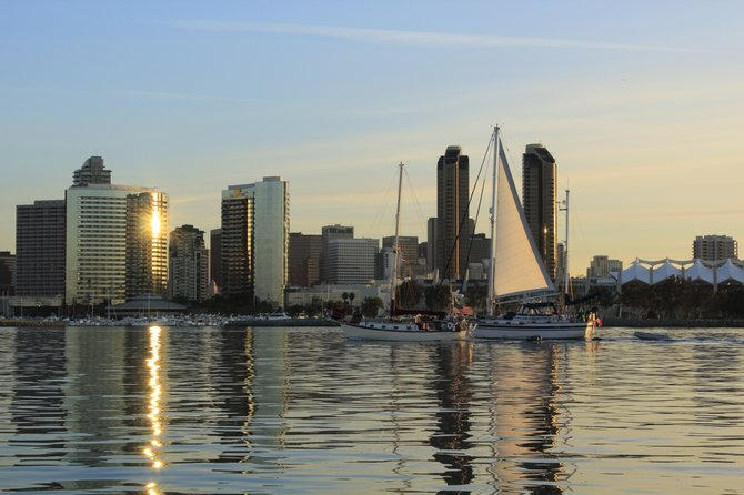 Early morning boat ride next to downtown san diego