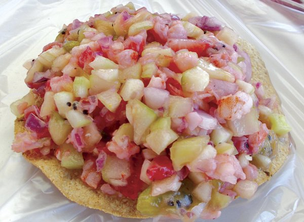 My ceviche de camarón with strawberries and kiwifruit