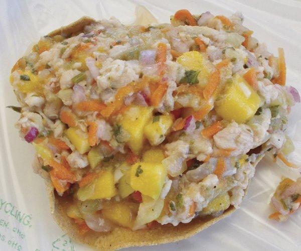 Hector's fish-and-mango tostada