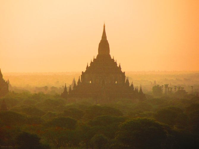 8th-century Buddhist temple at sunrise in Bagan, Myanmar