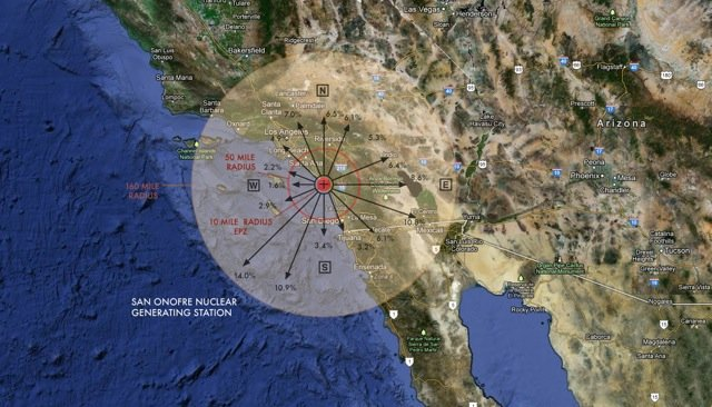 "Wind ""rose"" showing potential fallout from SORE (San Onofre Reactor Emergency)"