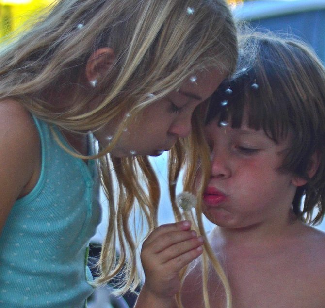 My son Fin and daughter Aidan, blowing wishes from a dandelion, in our Redwood Village neighborhood.