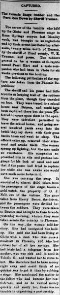 Part 1 of Pearl Hart story, June 8, 1899. Publication: The Arizona Silver Belt.