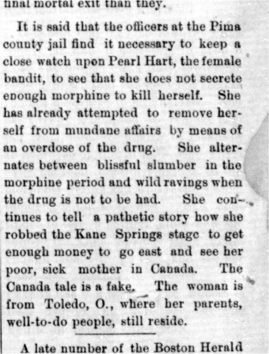 "Pearl Hart's ""pathetic story,"" July 27, 1899. Publication: The Arizona Silver Belt"