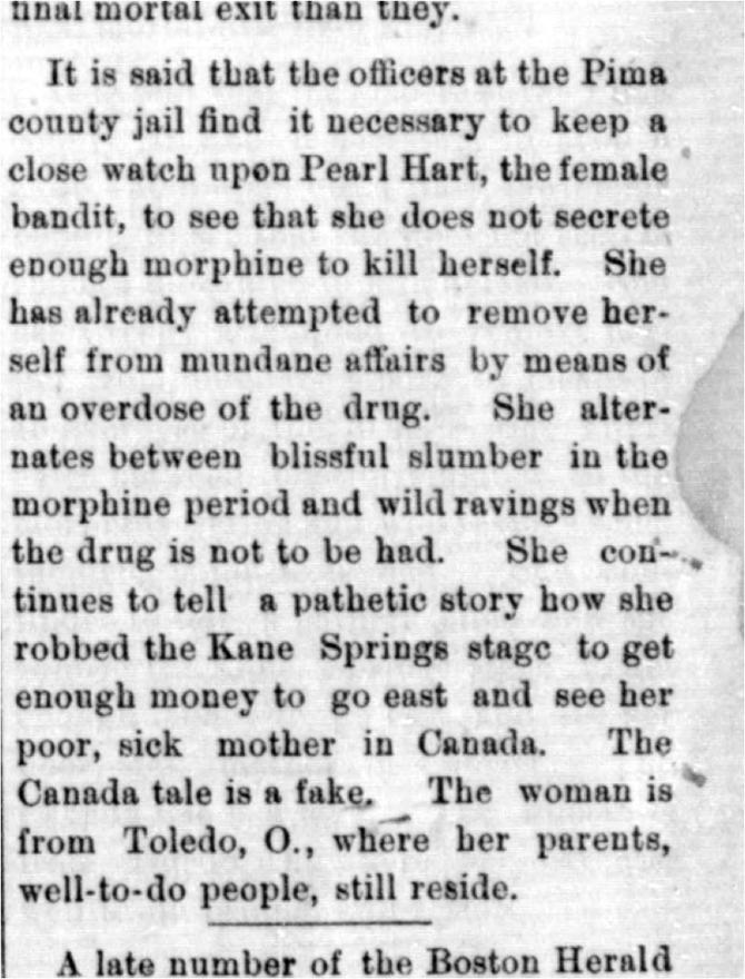 "Pearl Hart's ""pathetic story,"" July 27, 1899. Publication: The Arizona Silver Belt"