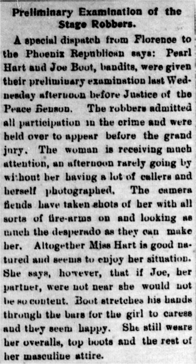 Preliminary examination of the robbers, June 15, 1899. Publication: The Arizona Silver Belt