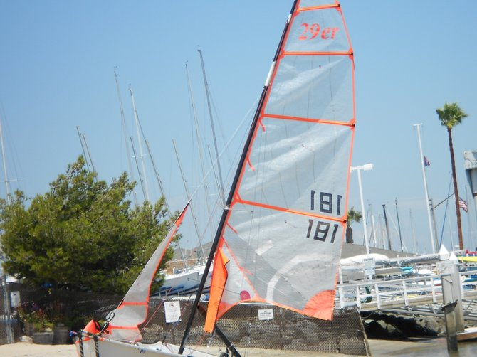 Neon-trimmed sails at Kellogg's Beach in Pt. Loma.