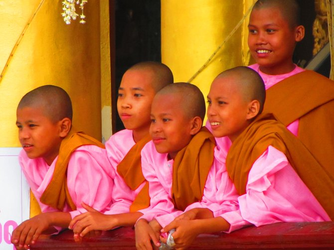Novice monks in Yangoon, Myanmar.
