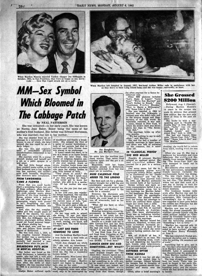 NEW YORK DAILY NEWS, Monday, August 6, 1962.