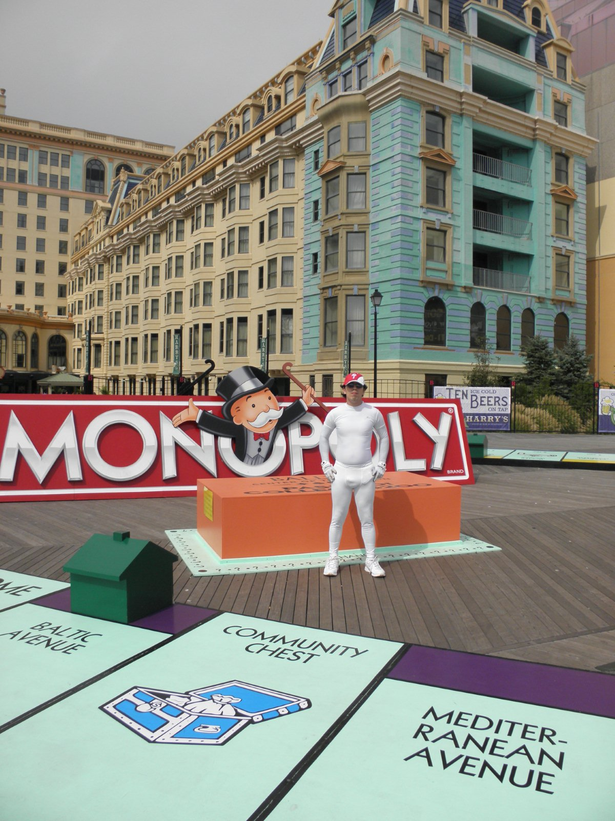 Monopoly Board Game On the Atlantic City, New Jersey Board Walk.  Bally's casino's  Atlantic City New Jersey