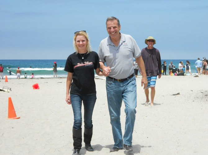 Mayor candidate Bob Filner & fiance at La Jolla Shores beach.