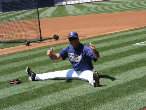 Padres first base coach Dave Roberts