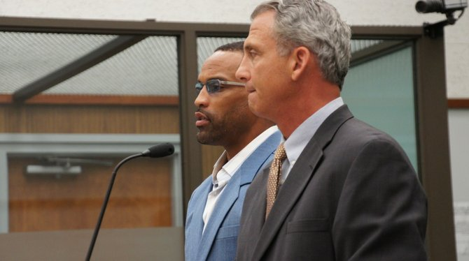 Defendant Robert Griffith and attorney Ivan Schwartz.  Photo Weatherston.