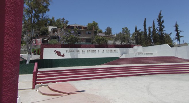 The memorial plaza. Colosio was murdered exactly where the statue stands.