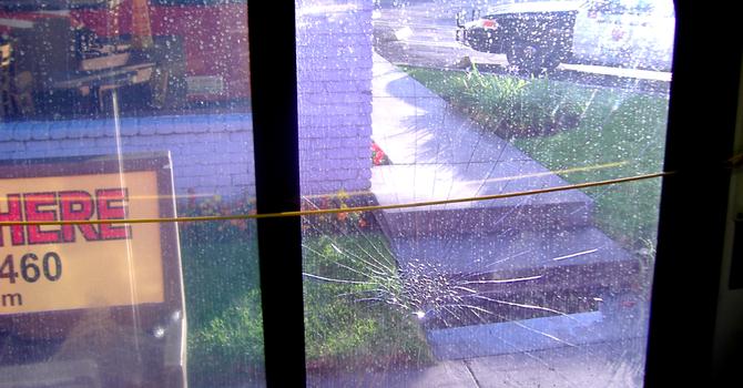 Broken window on the 35 bus