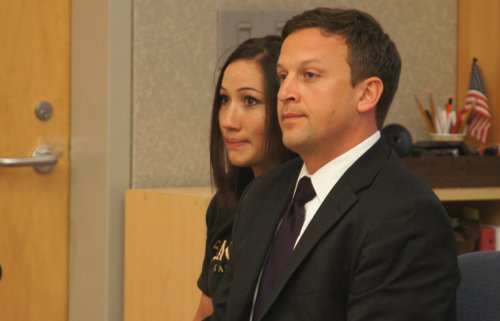 Kallie Helwig and attorney Emerson Wheat.  Photo Weatherston.