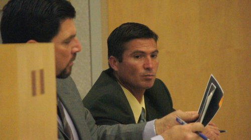 Defense atty Richard Layon and Raul Licon Jr in court.  Photo Weatherston.
