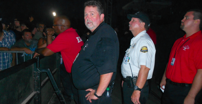 Security personnel had their hands full at the Offspring concert in Del Mar on August 10