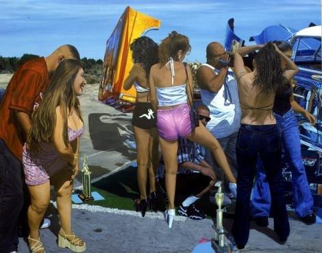 John Valadez Car Show 2001 oil on canvas