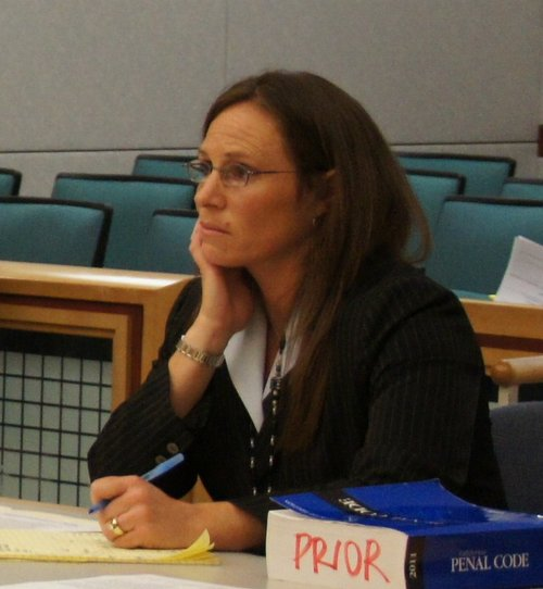Prosecutor Tracy Prior asks witnesses to come forward.  Photo Weatherston.