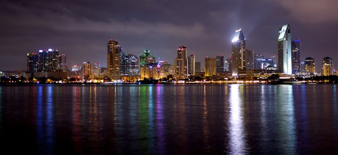 Downtown San Diego on a nice summer night. The view is from Coronado across the bay.