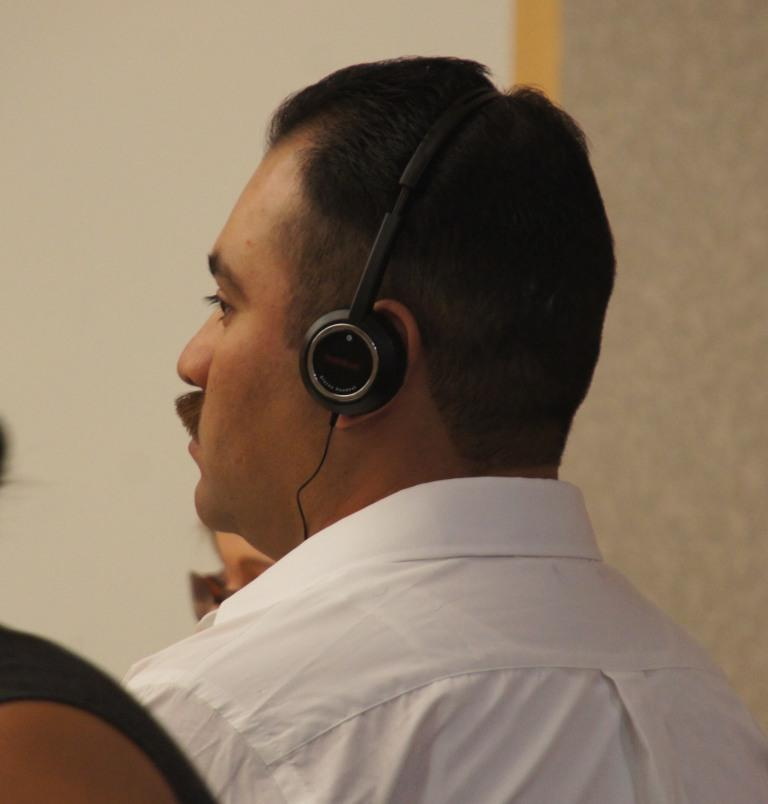 Juan Rivas pleads not guilty to assault and battery charges.  Photo Weatherston.