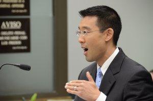DDA Keith Watanabe making bail argument.  Photo Weatherston.