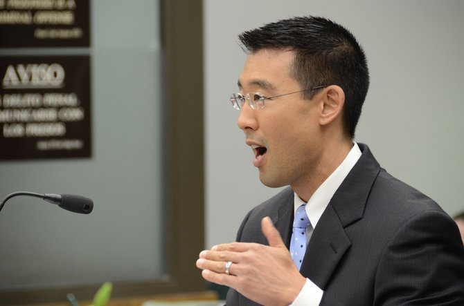 DDA Keith Watanabe making bail argument.  Photo Weatherston.
