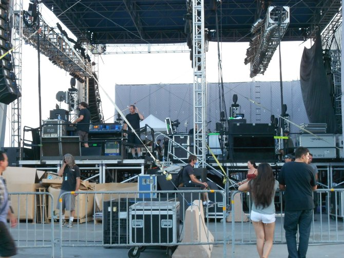 Roadies setting up Offspring show at Del Mar Seaside Stage.
