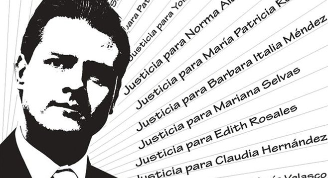 """Wanted"" poster translation: ""A vote for Peña Nieto is a vote for sexual torture."""