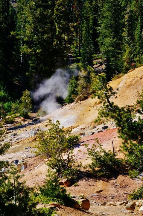 Lassen National Park, steam rising from the ground.