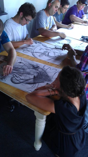 Artists working at a Little Fish meetup last week