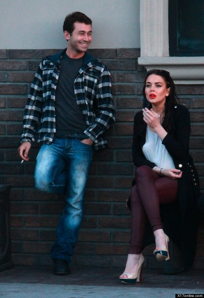 """James Deen and Lindsay Lohan on the set of Paul Schrader's """"The Canyons."""""""