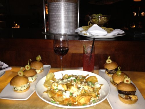 Clockwise from the top:  Baja Ceviche, Mini Bacon Cheeseburgers, Blue Cheese Potato Chips, Crab Cake Sliders.