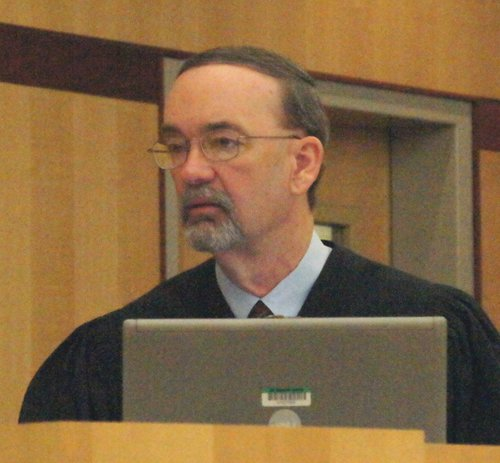 Judge K. Michael Kirkman sentenced the gangster to one year jail and ordered restitution.  Photo Weatherston.