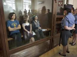 Pussy Riot, under glass during hearing
