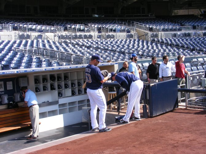 Padres pitchers Eric Stults along with Clayton Richard, preparing for batting practice.