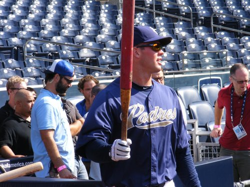 Padres pitcher Clayton Richard warms up for batting practice.