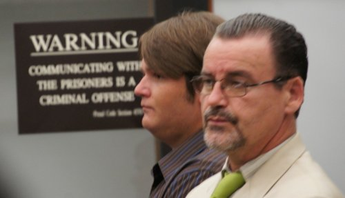 James Cameron Hollywood, 28, and his atty Thomas Slattery in court today.  Photo Weatherston.