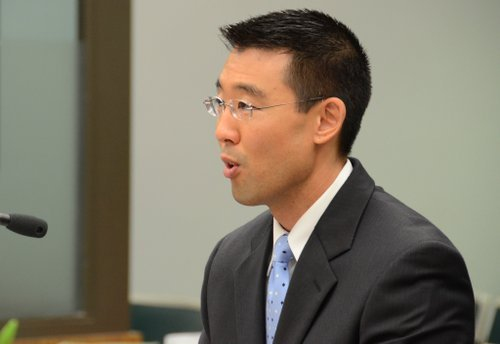 Prosecutor Keith Watanabe in San Diego's North County Superior Courthouse.  Photo Weatherston.