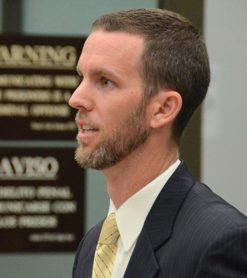 Prosecutor Ryan Saunders said the motive was inheritance.  Photo Bob Weatherston.