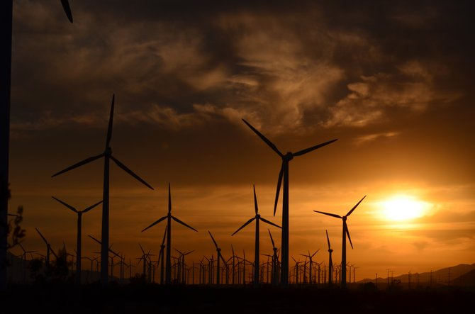 A windmill sunset in Palm Springs, CA.  I often bypass these windmills and this day I just had to capture this sunset.  Enjoy... Vilma.