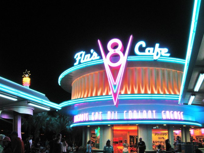 This is Flo's V-8 Cafe at the new Car's Land off Route 66 in the California Adventure Park, Anaheim, CA.  A must visit with your loved ones and take some comfortable shoes!  Enjoy...