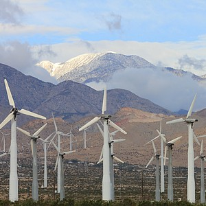 Windmills on North Palm Springs, CA.  I usually like to take my photos from a moving vehicle, actually I don't have a choice when your in a hurry to get from point A to point B!  Enjoy... Vilma.