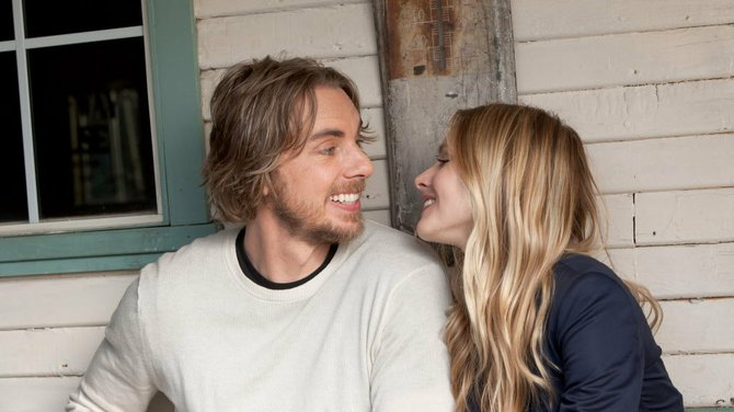 """Dax Shepherd and Kristen Bell add romantic octane to the demolition derby comedy, """"Hit and Run."""""""