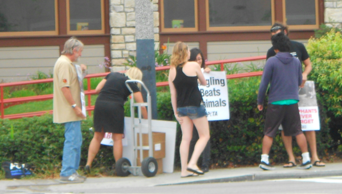Protesters stood on the sidewalk outside of Chili's