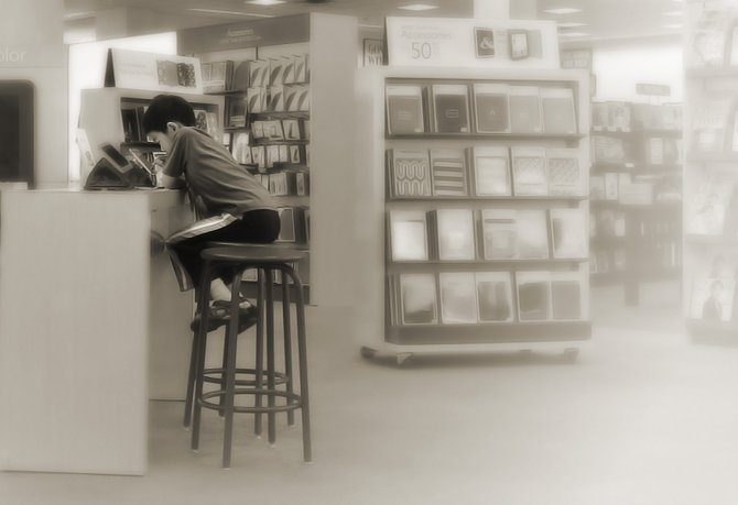 A young customer plays with the Nook in Mira Mesa